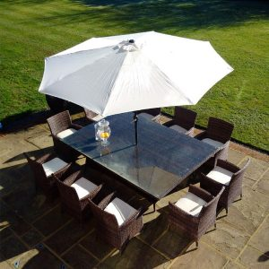 10 Manhattan Armchairs 2.3 mtr Rect Set in Black/Brown mix Parasol & Cushions SALE SALE!