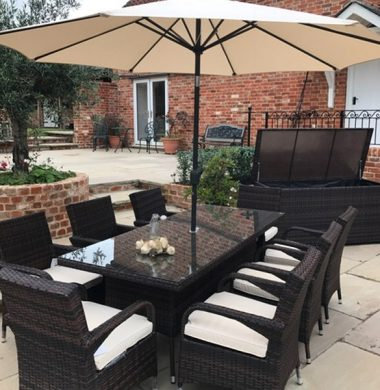 8 x Savannah Armchairs 2.0mtr Rect Table set in Black/Brown mix Parasol & Cushions