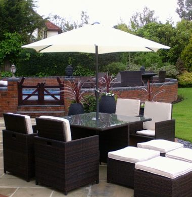 4 to 8 Seat Havana Cube Armchairs Set in Black/Brown mix Cover and Parasol