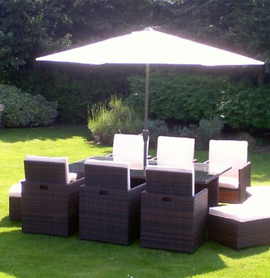 6 to 12 Seat Havana Cube Armchairs Set in Black/Brown mix Cover & Parasol