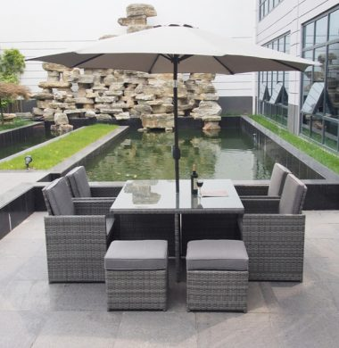 4 to 8 Seat Havana Cube Armchairs Set in Classic Grey mix weave Cover & Parasol