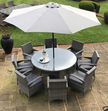 8 Savannah Armchairs 1.5mtr Round Set in Grey Mix Weave with Parasol Complete