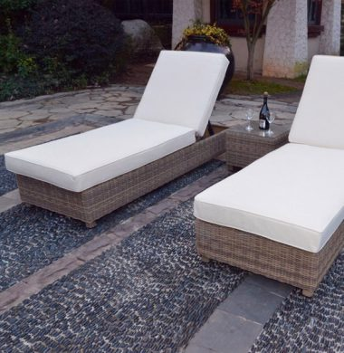 Naples Luxury Pool Lounger Set in Grey/Sand Mix Weave