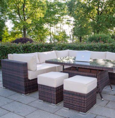 Richmond Brown/Black Mix Weave Rectangular Corner Dining Sofa set ONE LEFT!!!SALE !