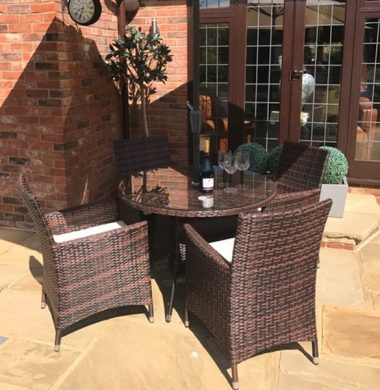 4 Manhattan Armchairs 1.0 mtr Round Set in Black/Brown mix Weave Complete