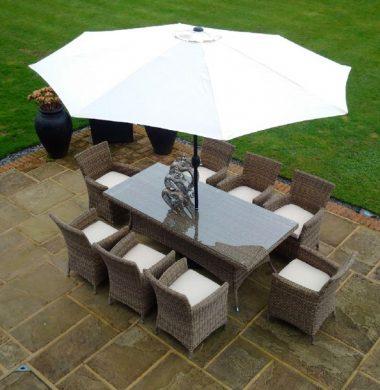 8 Manhattan Armchairs 2.0 mtr Rectangular Set in Luxury Grey/Sand Round Weave