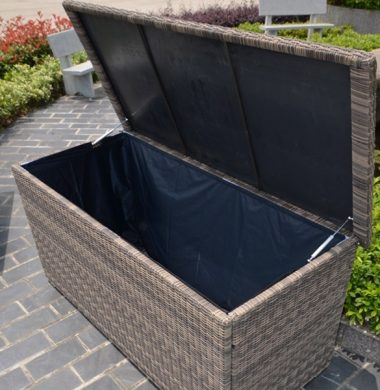 Chest Style Cushion Storage Box in Luxury Grey/Sand mix weave