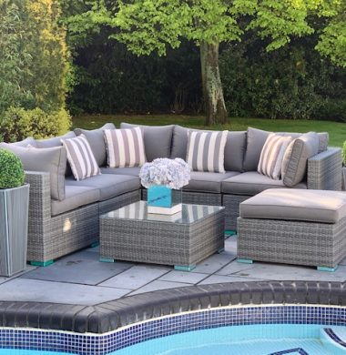 7 Piece Richmond Rattan Complete Sofa Set in Classic Grey Weave mix