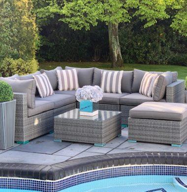 7 Piece Richmond Rattan Complete Sofa Set in Classic Grey Weave mix