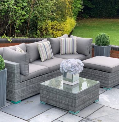 5 Piece Richmond Rattan Complete Sofa Set in Classic Grey Weave mix