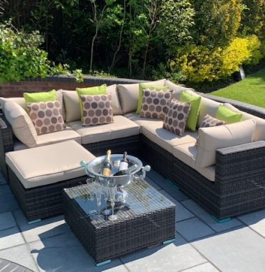 7 Piece Richmond Rattan Complete Sofa Set in Black/Brown Weave mix