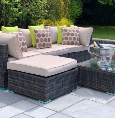 5 Piece Richmond Rattan Complete Sofa Set in Black/Brown Weave mix