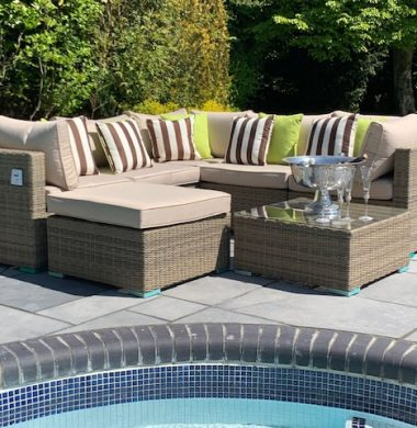 7 Piece Richmond Luxury Rattan Complete Sofa Set in Grey/Sand Mix Weave