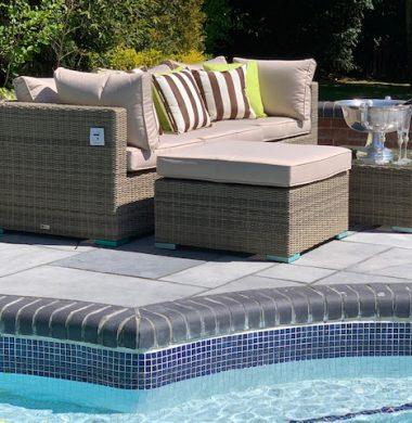 5 Piece Richmond Luxury Rattan Complete Sofa Set in Grey/Sand Mix Weave