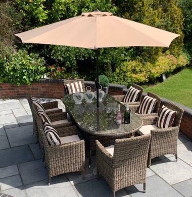 8 Manhattan Armchairs 2.2 mtr Oval Set in Luxury Grey/Sand Round Weave
