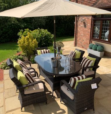 6 Savannah Armchairs 1.7 mtr Oval Set in Brown Black Parasol & Cushions
