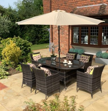 6 Manhattan Armchairs 1.8 mtr Oval Set in Black/Brown Parasol & Cushions