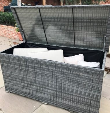 Chest Style Cushion Storage Box in Grey mix weave