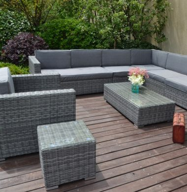 8 Piece Atlanta Classic Rattan Complete Sofa Set in Grey mix Weave