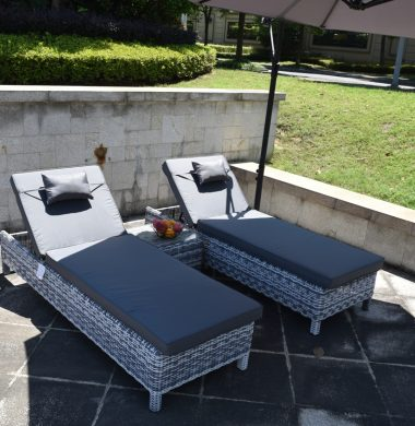 Naples Luxury Pool Lounger Set in Grey/White Mix Weave  HALF PRICE SALE!