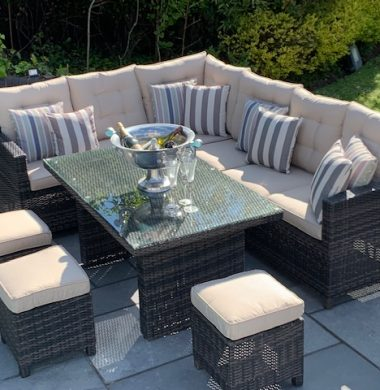 Carolina Brown/Black Mix Weave Classic Rectangular Corner Dining Sofa set