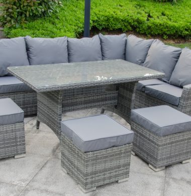 Carolina Grey Mix Weave Classic Rectangular Corner Dining Sofa set SALE..4 SETS LEFT!