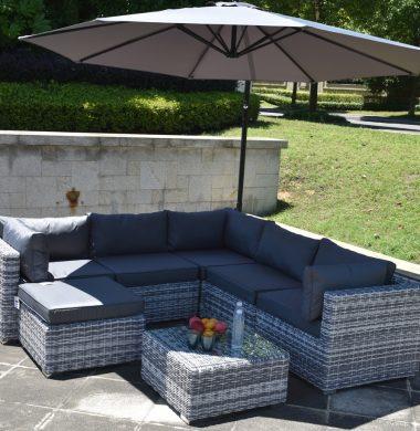 7 Piece Colorado Luxury Rattan Complete Sofa Set in Grey/White Mix Weave SALE! 4 SETS LEFT!