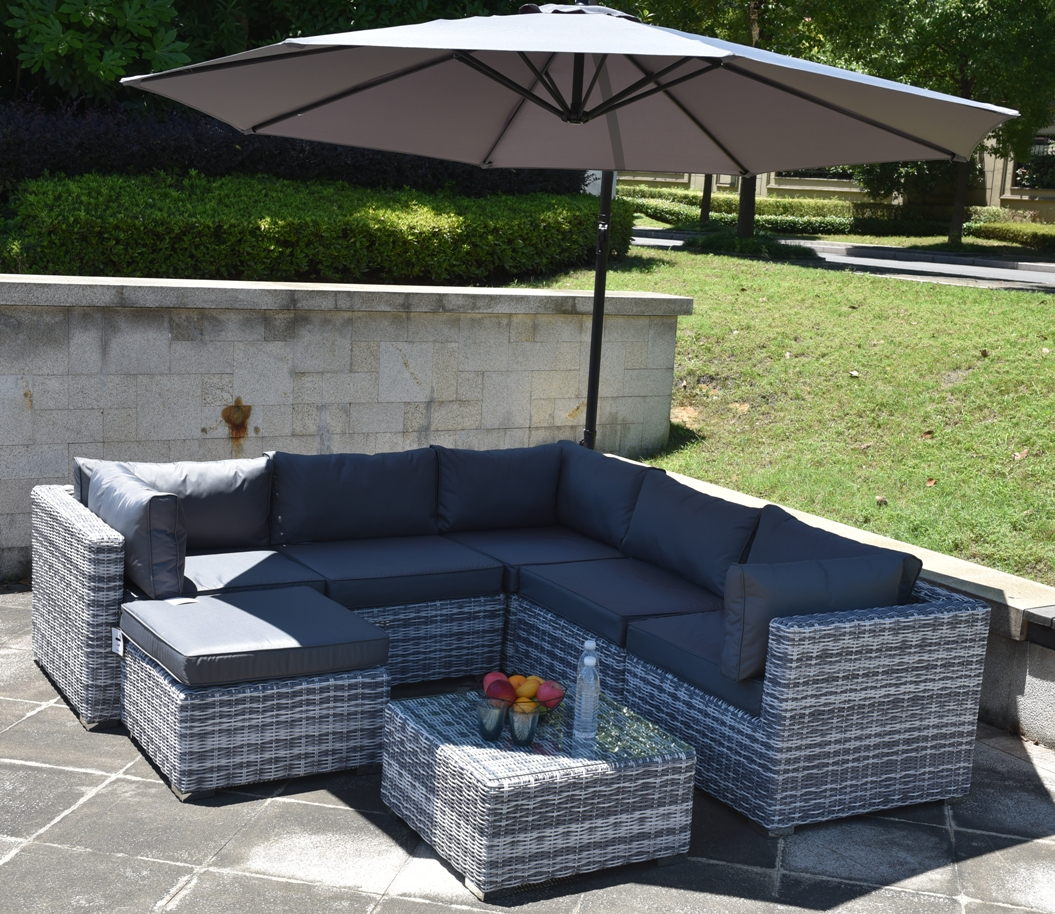 8 Piece Colorado Luxury Rattan Complete Sofa Set in Grey/White Mix Weave  SALE! 8 SETS LEFT!