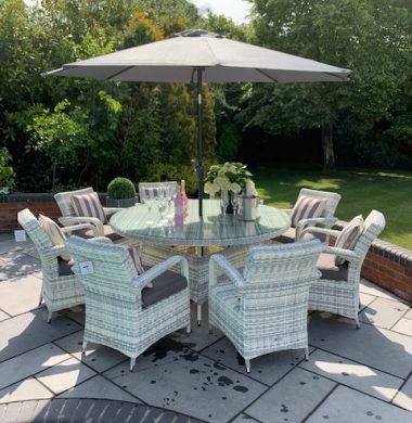 8 Savannah Armchairs 1.5 mtr Round Set in Luxury Grey/White mix Weave