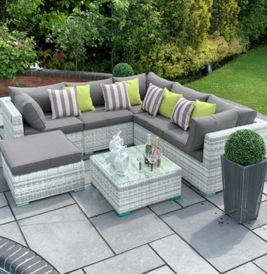 7 Piece Richmond Luxury Rattan Complete Sofa Set in Grey/White Mix Weave