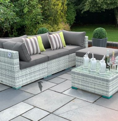 5 Piece Richmond Luxury Rattan Complete Sofa Set in Grey/White Mix Weave