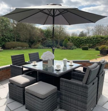 4 to 8 Seat Havana Cube Armchairs Set in Classic Grey/Black mix weave Cover & Parasol