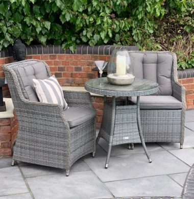 2 Portland Armchairs 70cm Round Set Classic Grey Mix Weave Complete