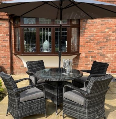 4 Savannah Armchairs 1.0mtr Round Set in Classic Grey/Black Mix Weave Complete