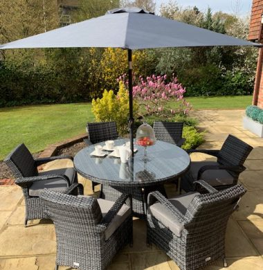 6 Savannah Armchairs 1.35mtr Round Set in Grey/Black Mix Weave with Parasol Complete