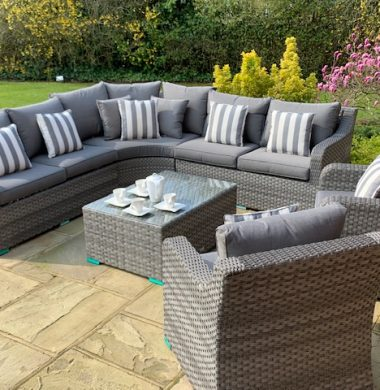 Denver Curved Rattan Complete Sofa Set in Luxury Ribbon Grey Weave mix