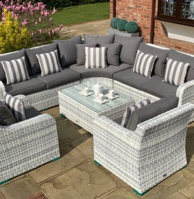 Denver Curved Rattan Complete Sofa Set in Luxury Grey/White Weave mix