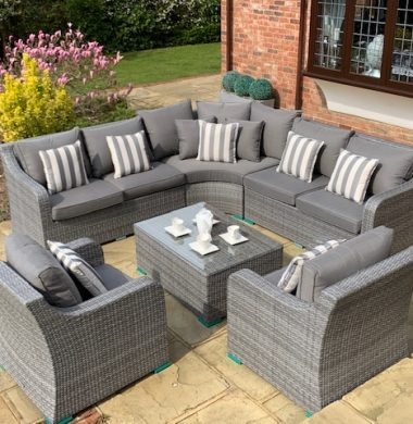 Denver Curved Rattan Complete Sofa Set in Classic Grey Weave mix
