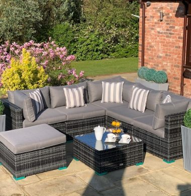 7 Piece Richmond Rattan Complete Sofa Set in Classic Grey/Black Weave mix