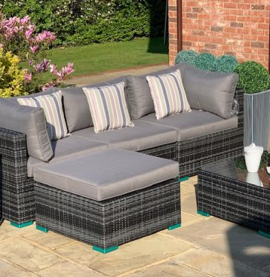 5 Piece Richmond Rattan Complete Sofa Set in Classic Grey/Black Weave mix