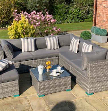 7 Piece Richmond Luxury Rattan Complete Sofa Set in Grey Wide Ribbon Mix Weave