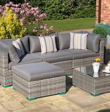 5 Piece Richmond Luxury Rattan Complete Sofa Set in Grey Wide Ribbon Mix Weave