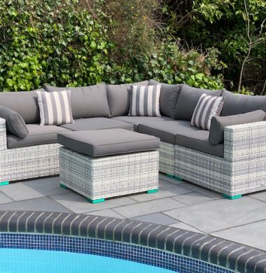 6 Piece Oakland Luxury Rattan Complete Sofa Set in Grey/White Mix Weave