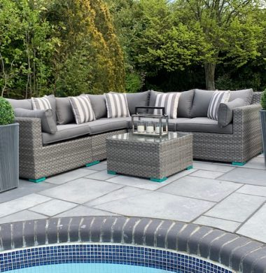6 Piece Oakland Luxury Rattan Complete Sofa Set in Grey Wide Ribbon Mix Weave