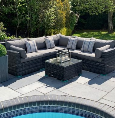 6 Piece Oakland Classic Rattan Complete Sofa Set in Grey/Black Mix Weave