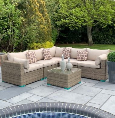 6 Piece Oakland Luxury Rattan Complete Sofa Set in Grey/Sand Mix Weave