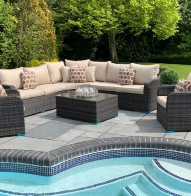 Denver Curved Rattan Complete Sofa Set in Classic Brown/Black Weave mix