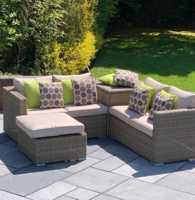 4 Piece Hartford Luxury Rattan Complete Storage Sofa Set in Grey/Sand Mix Weave