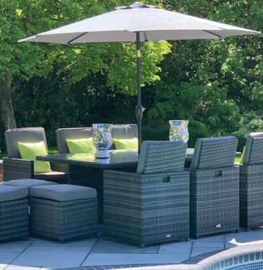 6 to 12 Seat Havana Cube Armchairs Set in Classic Grey/Black mix weave Cover & Parasol
