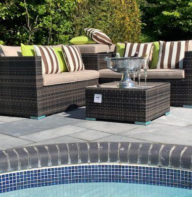 4 Piece Hartford Classic Rattan Complete Storage Sofa Set in Brown/Black Mix Weave